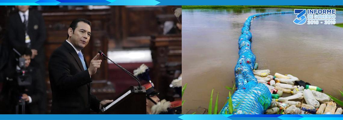 Informe de Gobierno: Biobardas detienen el 85% de desechos que contaminan ríos y Guatemala gana aplausos del Foro Económico Mundial